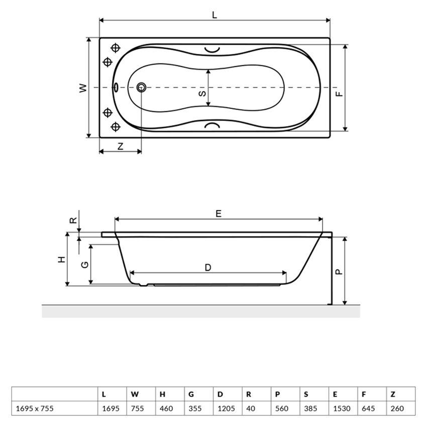 Wanna prostokątna 169,5x75m5 cm Excellent Clesis Lux rysunek techniczny
