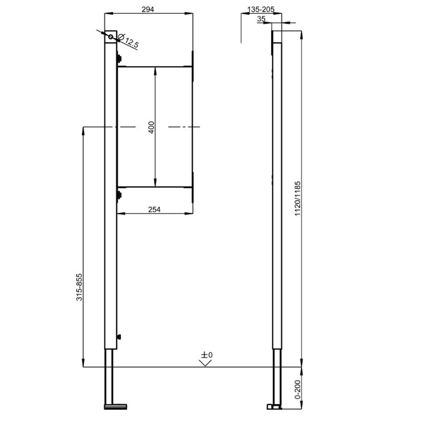 Stelaż podtynkowy do mocowania poręczy i uchwytów w łazienkach bez barier w układzie lewostronnym Franke Aquafix rysunek techniczny