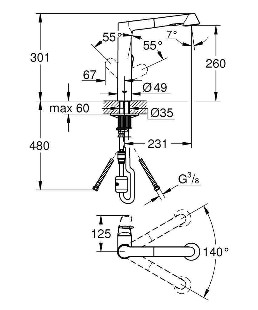 Jednouchwytowa bateria kuchenna 30,1 cm Grohe K7 rysunek techniczny