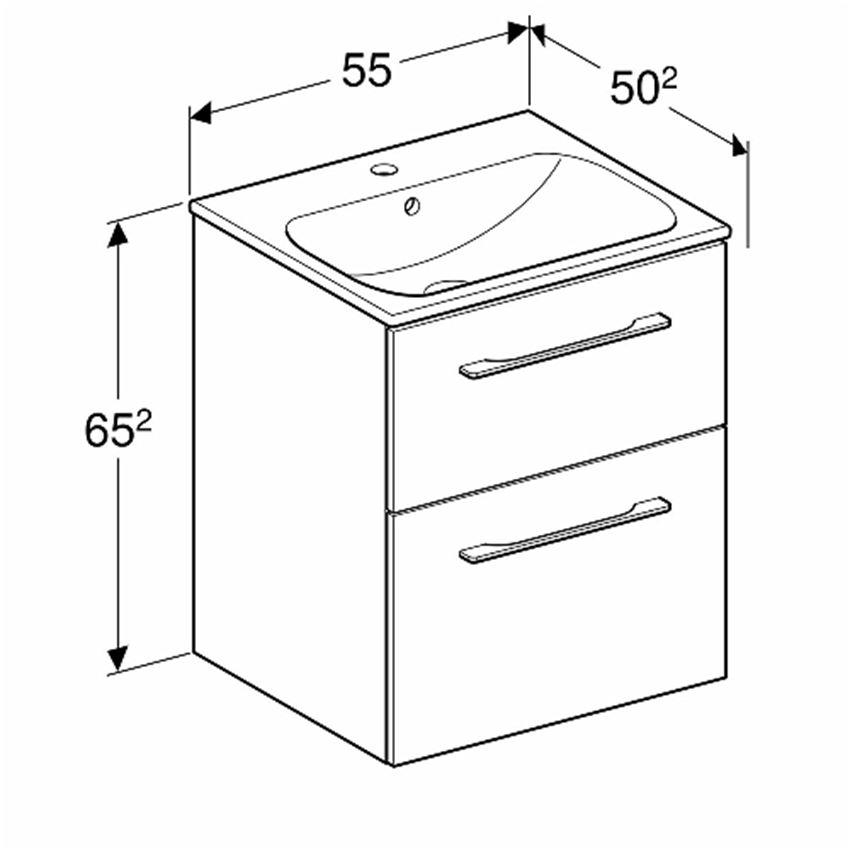 Zestaw meblowy umywalka 55 cm + szafka Koło Nova Pro Premium rysunek