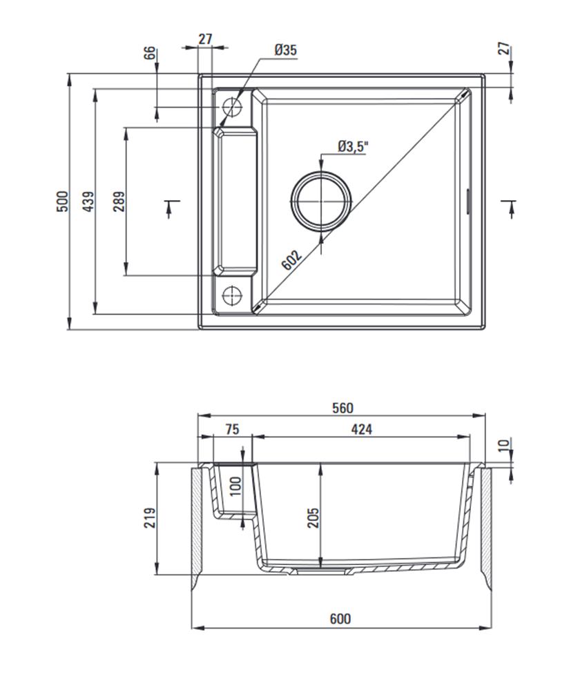 Zlewozmywak granitowy magnetyczny 1-komorowy Deante Magnetic rysunek