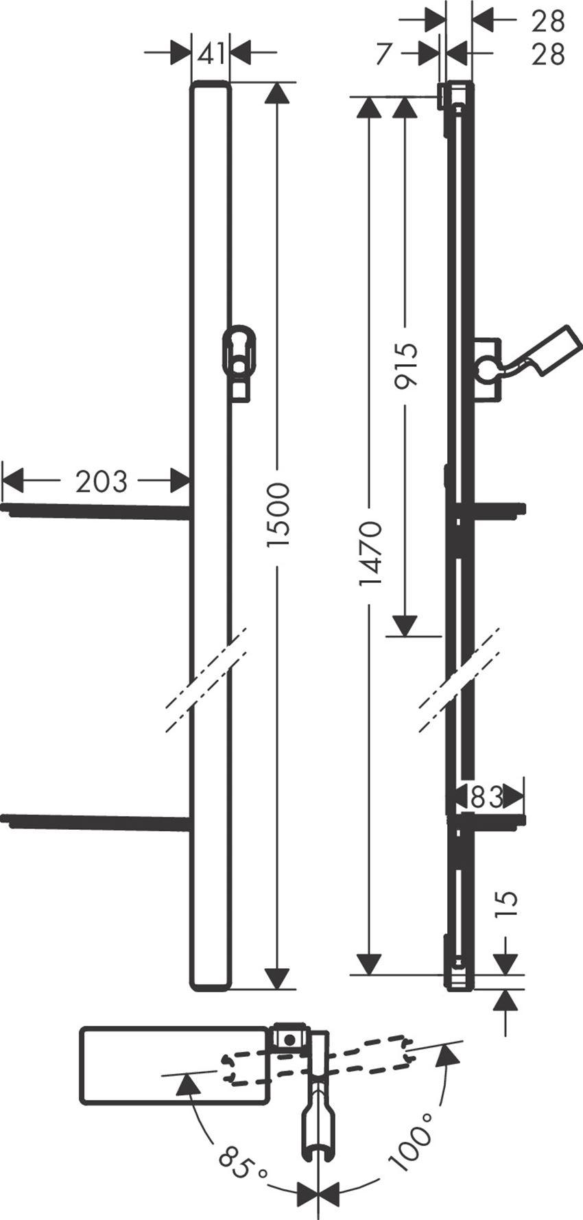 Drążek prysznicowy 150 cm z wężem Hansgrohe Unica rysunek techniczny