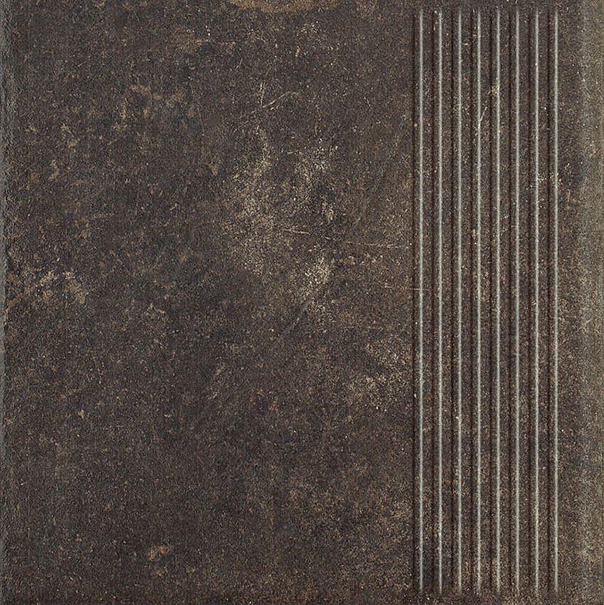 Płytka stopnicowa 30x30 cm Paradyż Scandiano Brown Stopnica Prosta