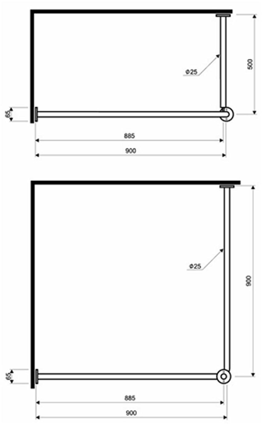 Wieszak zasłony prysznicowej 90 cm Koło Lehnen Funktion rysunek techniczny