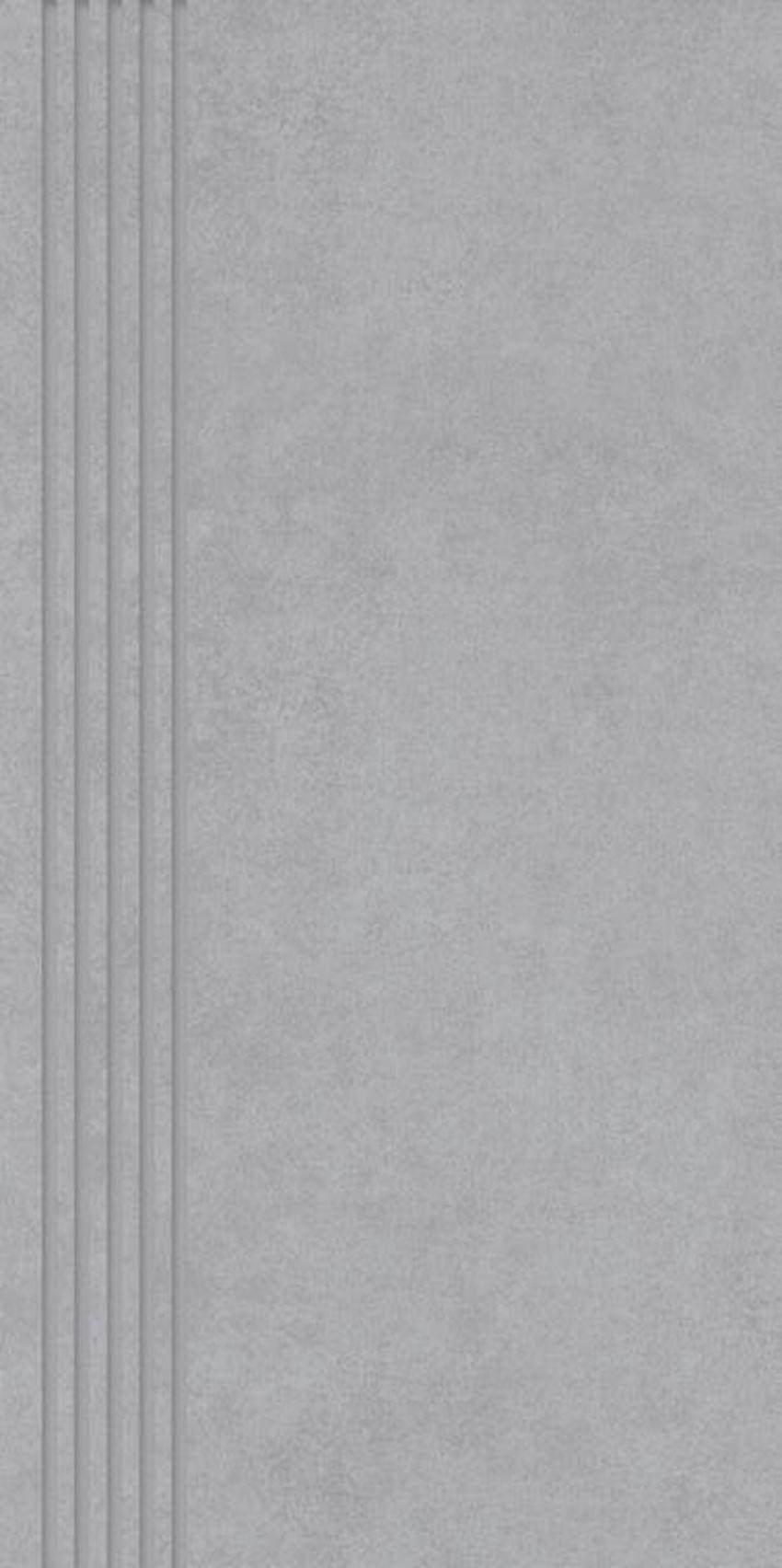 Płytka stopnicowa 29,8x59,8 cm Paradyż Tero Grys Stopnica Prosta Nacinana Półpoler