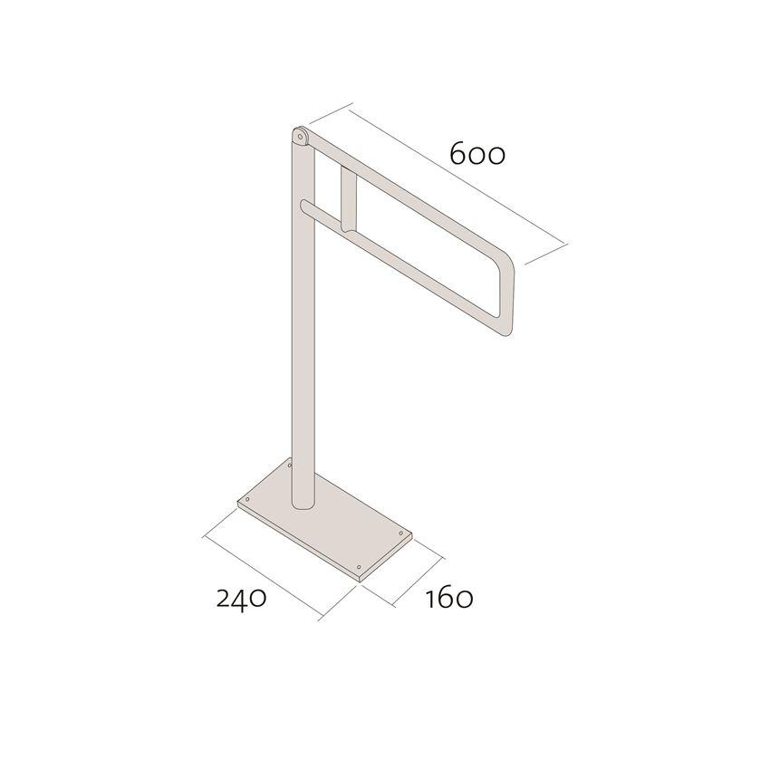 Uchwyt podłogowy do wc 60cm uchylny Cersanit Etiuda rysunek techniczny