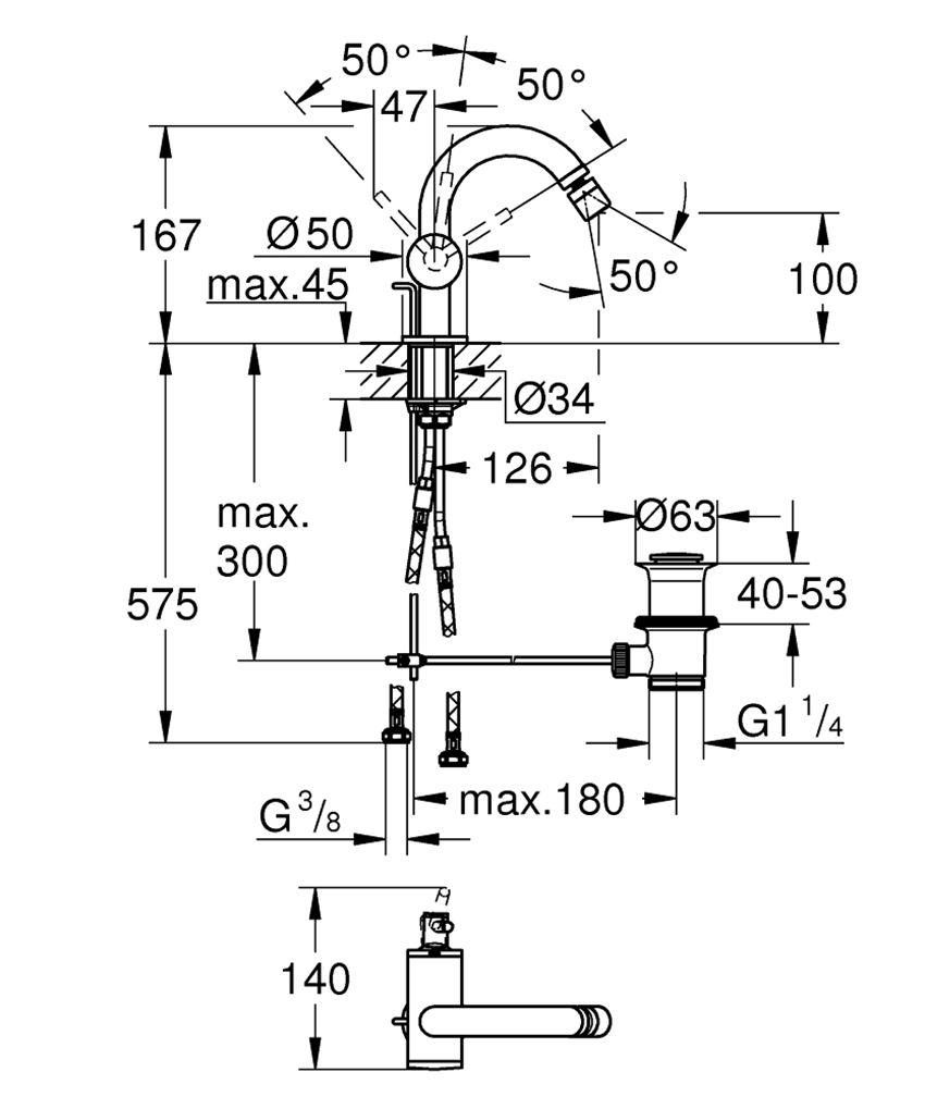 Bateria bidetowa jednouchwytowa chrom Grohe Atrio rysunek techniczny