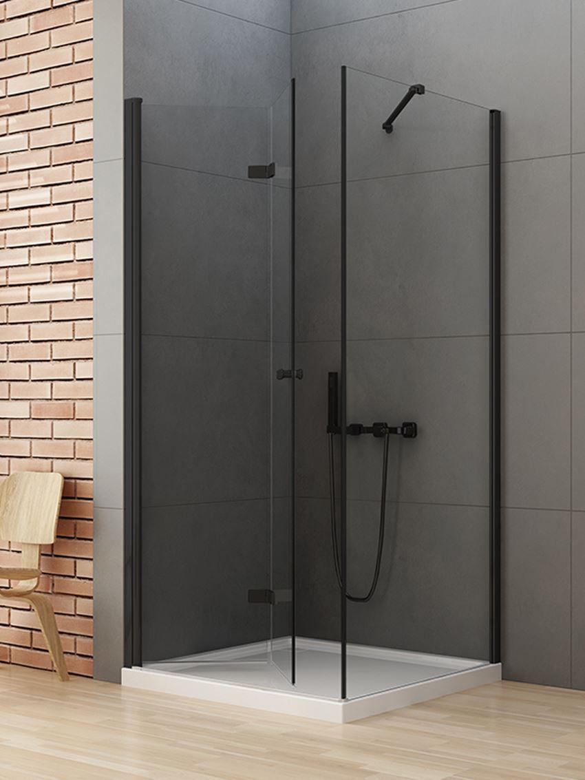 Kabina prysznicowa z drzwiami łamanymi New Trendy New Soleo Black