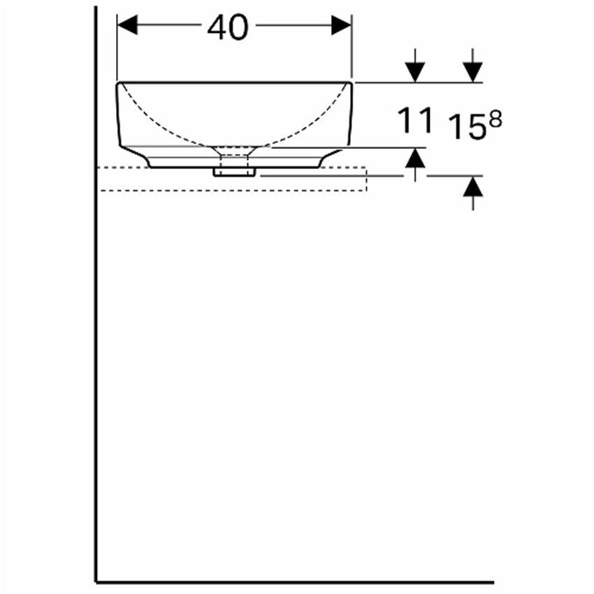 Umywalka stawiana na blat 55x40 cm eliptyczna bez otworu i przelewu Koło VariForm rysunek techniczny