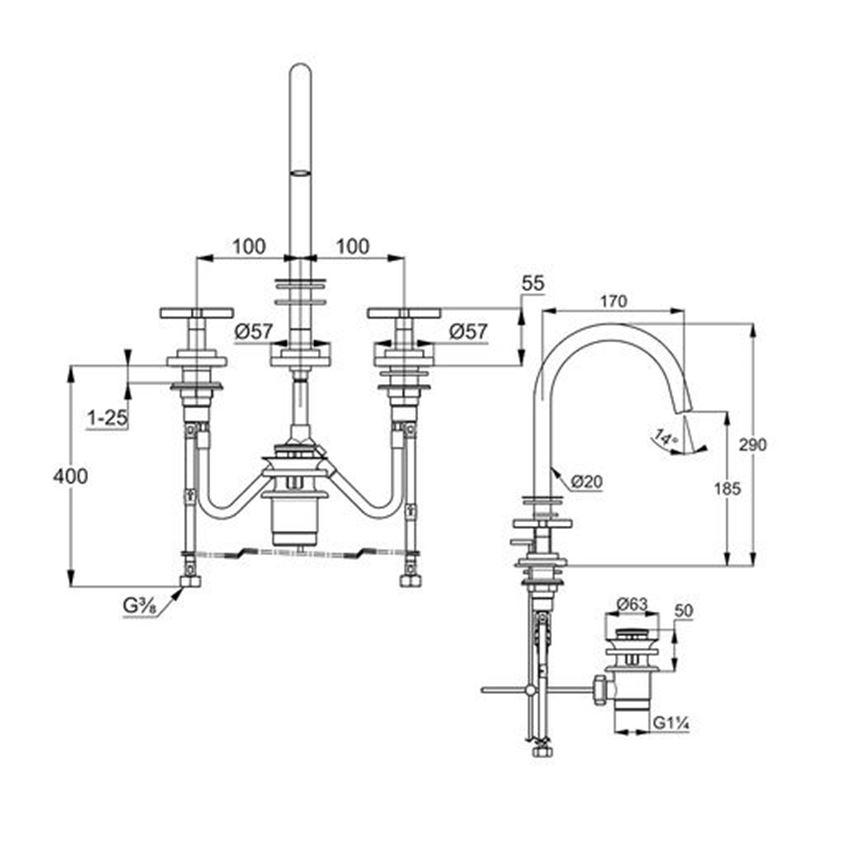 Stojąca bateria umywalkowa Classic montaż trójotworowy Kludi Nova Fonte rysunek