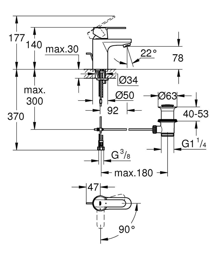 Jednouchwytowa bateria umywalkowa rozmiar S Grohe Get rysunek techniczny