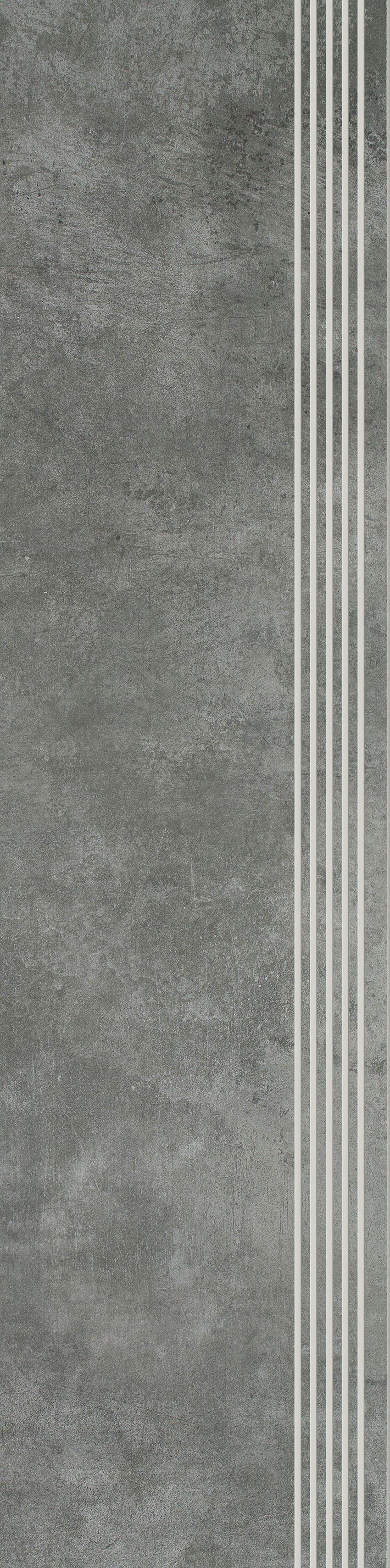 Płytka stopnicowa 29,8x119,8 cm Paradyż Scratch Nero Stopnica Prosta Nacinana Mat.