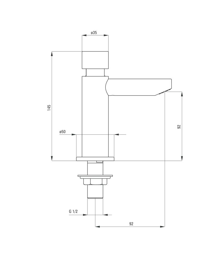 Bateria umywalkowa czasowa Deante Press rysunek techniczny
