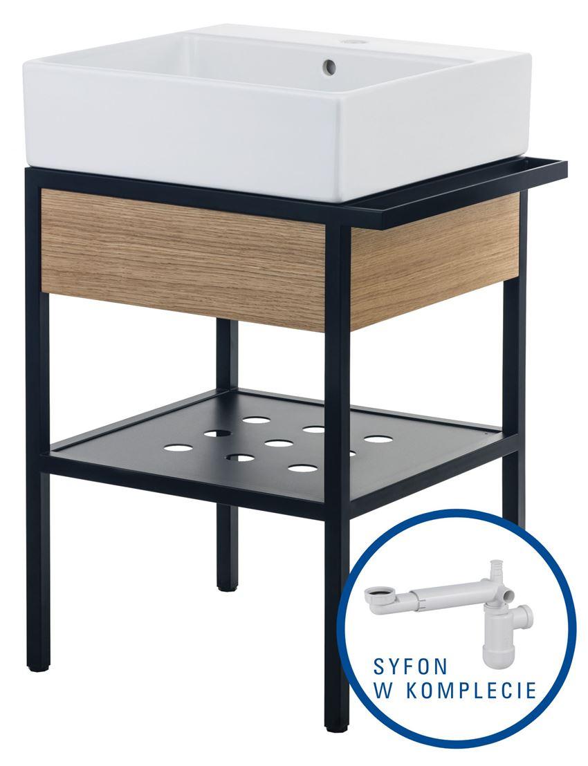 Umywalka z konsolą łazienkowa z szufladą + syfon space saver 56x40 cm Deante Temisto