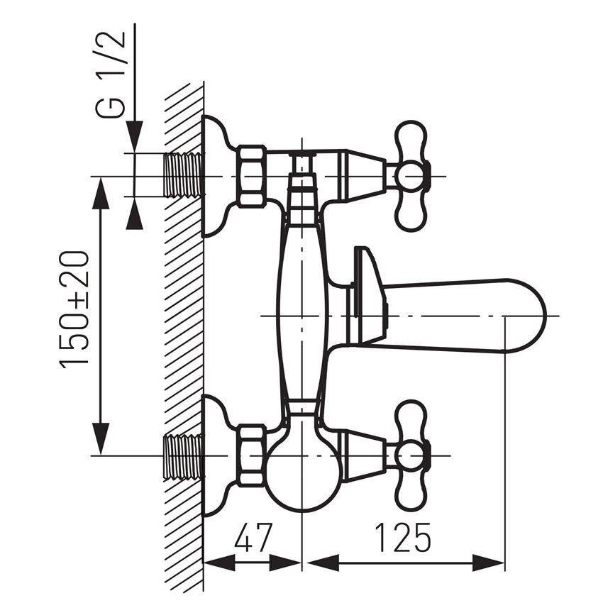 Bateria wannowa z słuchawką i wężem Ferro Retro New rysunek techniczny