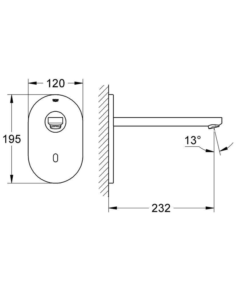 Elektroniczna bateria umywalkowa bez mieszacza Grohe Eurosmart Cosmopolitan E rysunek
