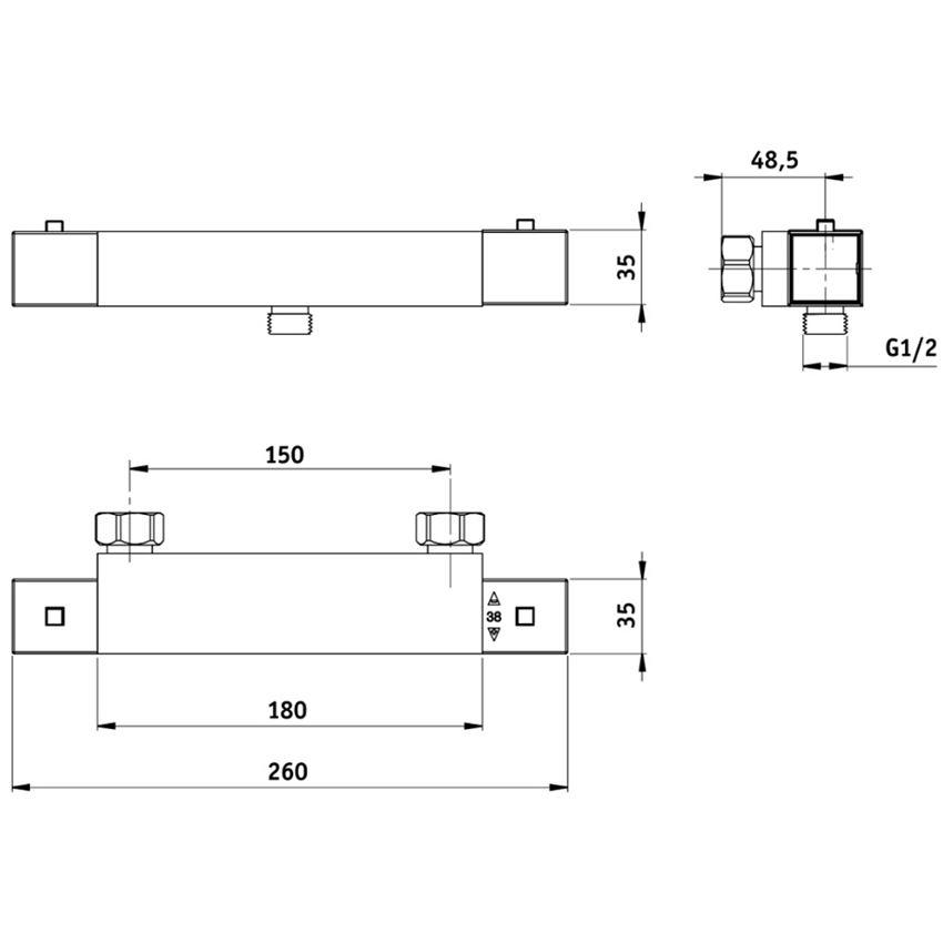 Bateria natryskowa termostatyczna Deante Begonia rysunek techniczny