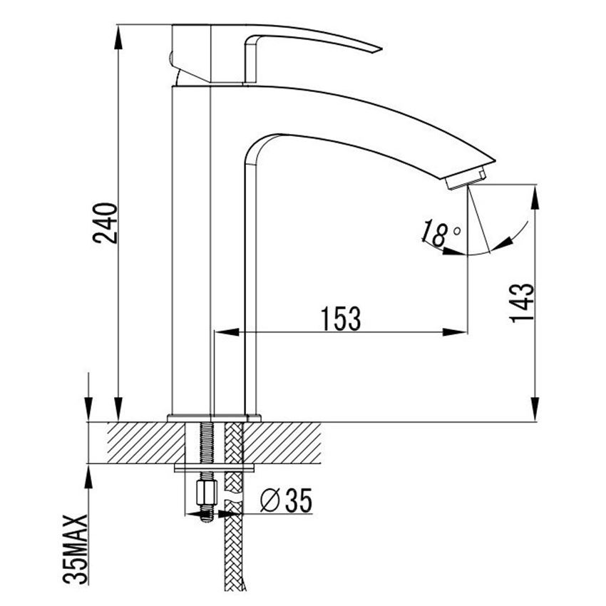 Bateria umywalkowa comfort Omnires Murray rysunek techniczny