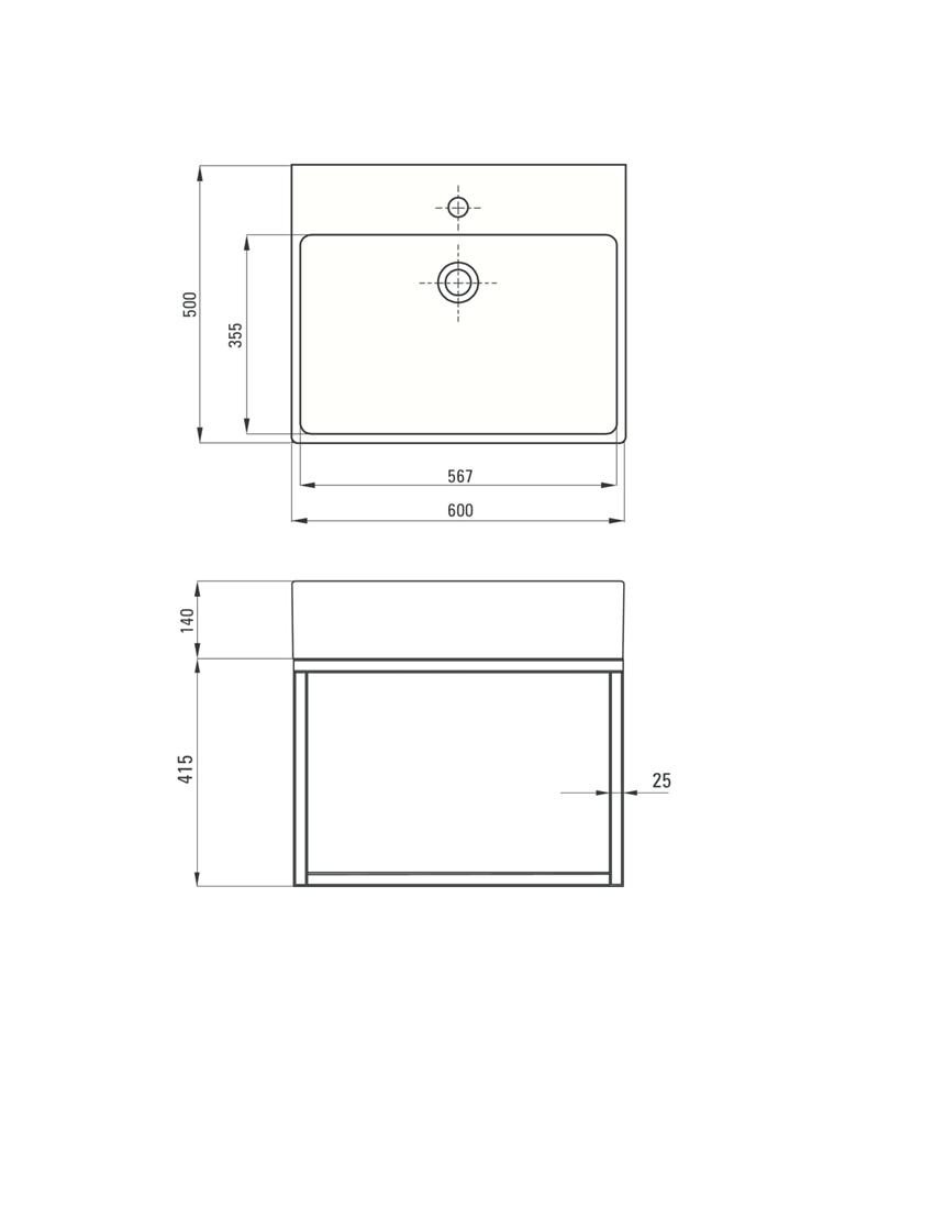 Umywalka stawiana na blacie z konsolą łazienkową wiszącą Deante Temisto rysunek techniczny