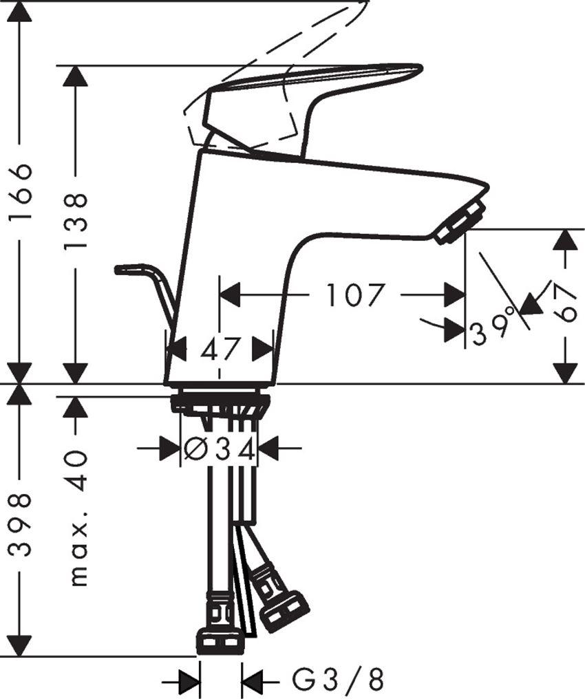 Jednouchwytowa bateria umywalkowa z cięgłem Hansgrohe Logis rysunek techniczny