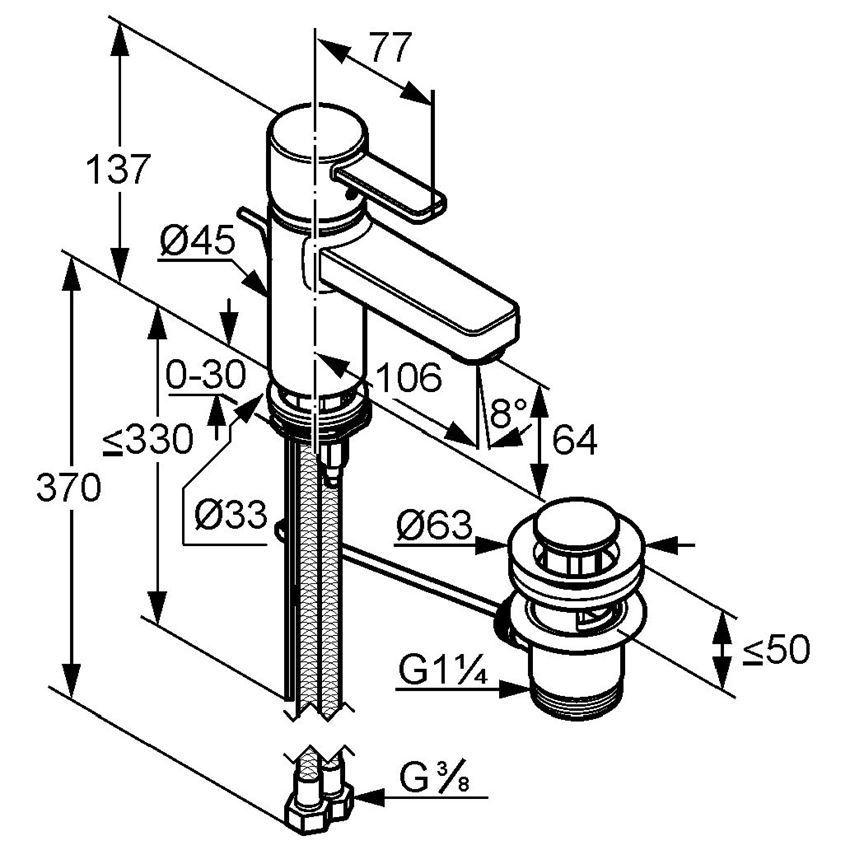 Jednouchwytowa bateria umywalkowa DN 10 Kludi Zenta rysunek techniczny