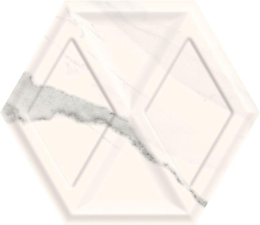 Płytka ścienna 17,1x19,8 cm Paradyż Morning Bianco Heksagon Struktura Połysk