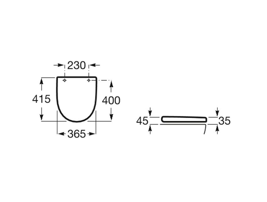 Deska WC Compacto standardowa SUPRALIT ® Roca Meridian rysunek