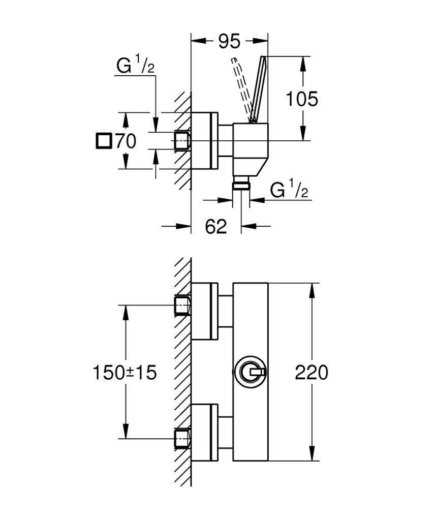 Jednouchwytowa bateria prysznicowa Grohe Eurocube Joy rysunek techniczny