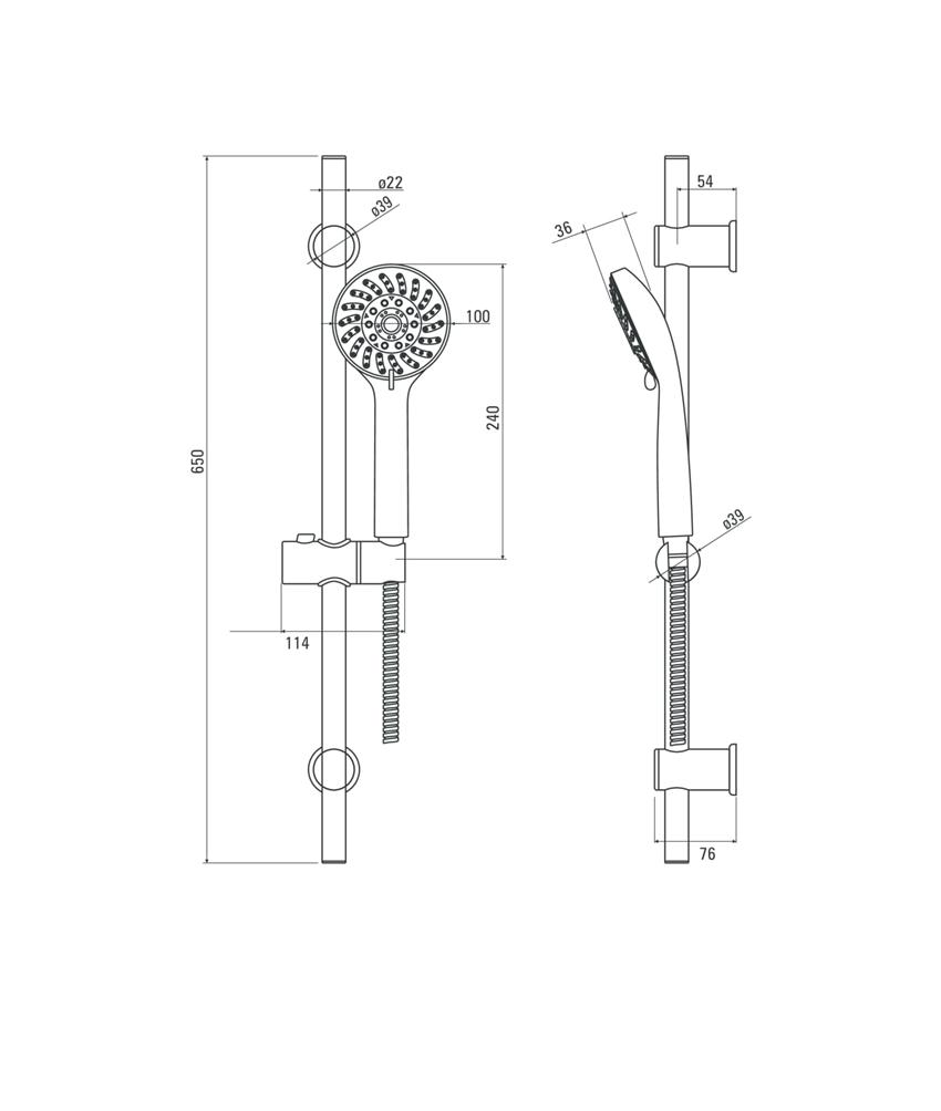 Zestaw natryskowy 5-funkcyjny Deante Avis rysunek techniczny