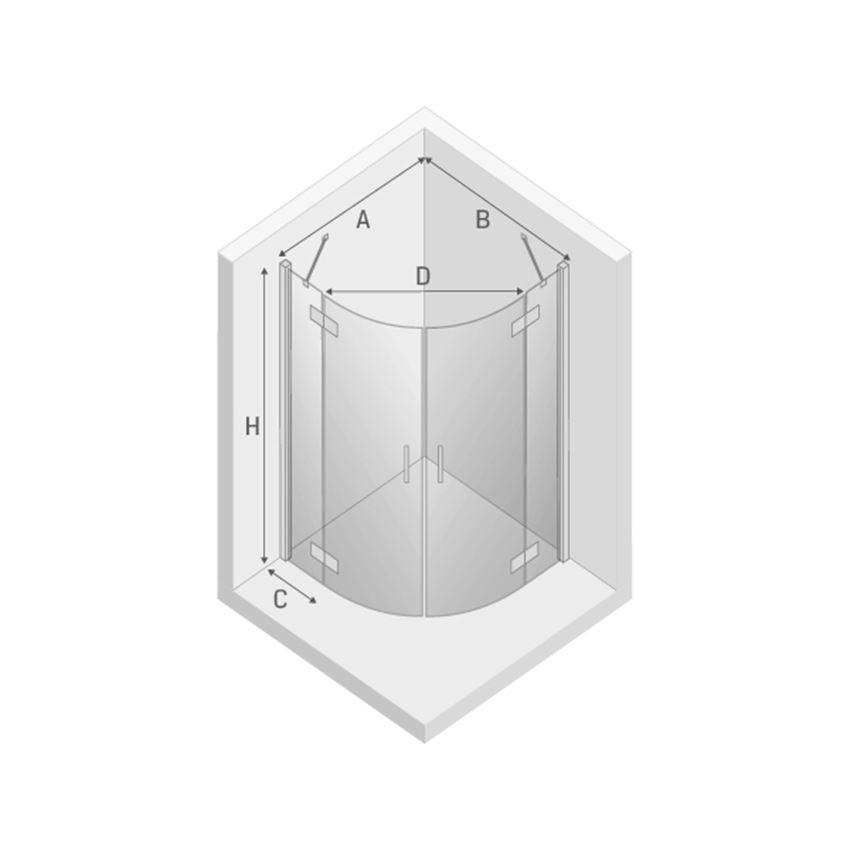 Kabina prysznicowa półokrągła New Trendy New Merana Black rysunek techniczny