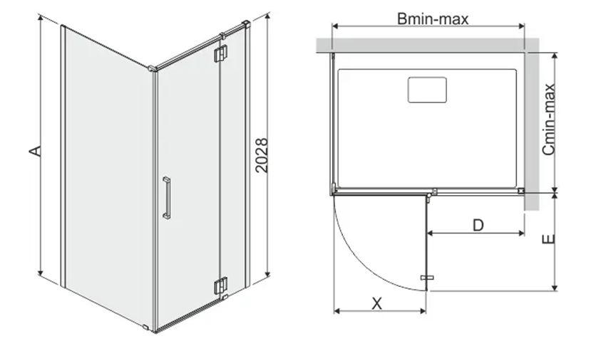 Kabina prysznicowa prostokątna 80x90 cm Sanplast Space Line rysunek