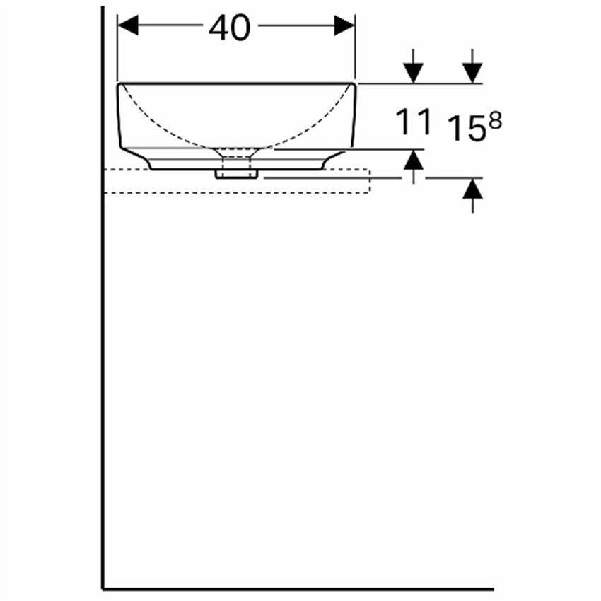 Umywalka stawiana na blat 55x40 cm owalna bez otworu i przelewu Koło VariForm rysunek techniczny