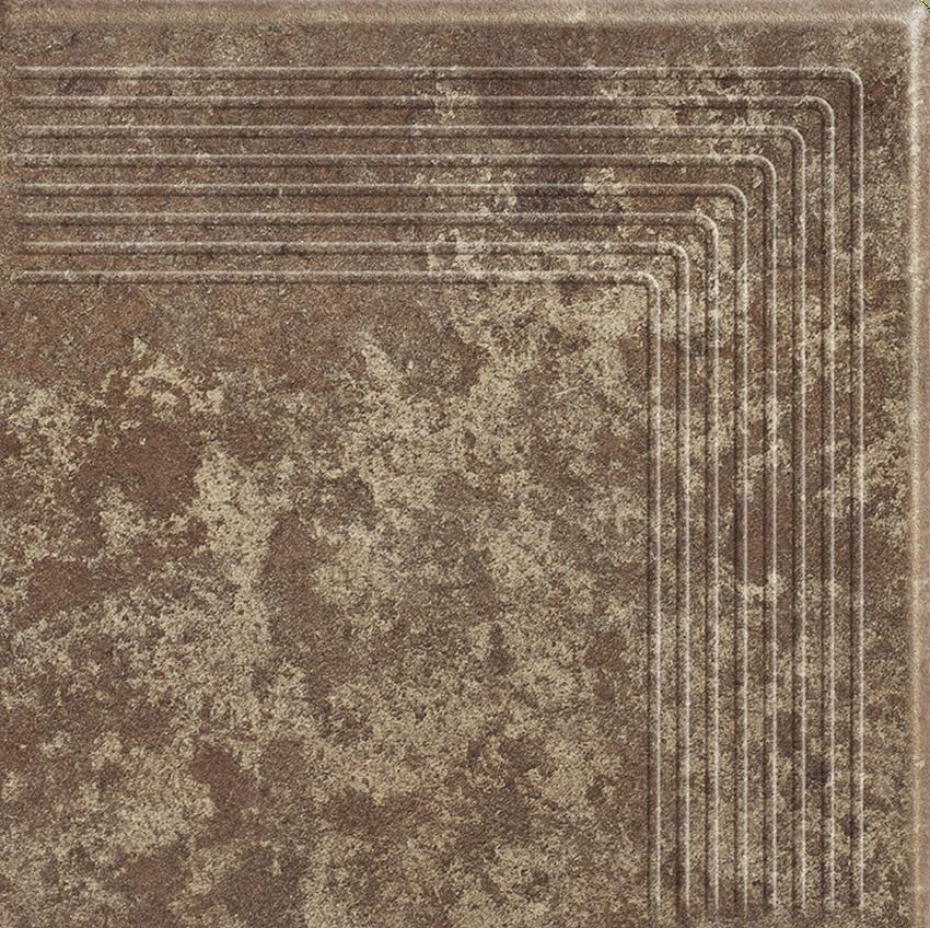 Płytka stopnicowa 30x30 cm Paradyż Ilario Brown Stopnica Narożna