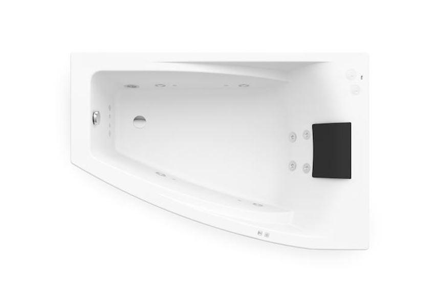 Asymetryczna narożna wanna akrylowa z hydromasażem Smart Water Plus 150x100 cm Roca Hall