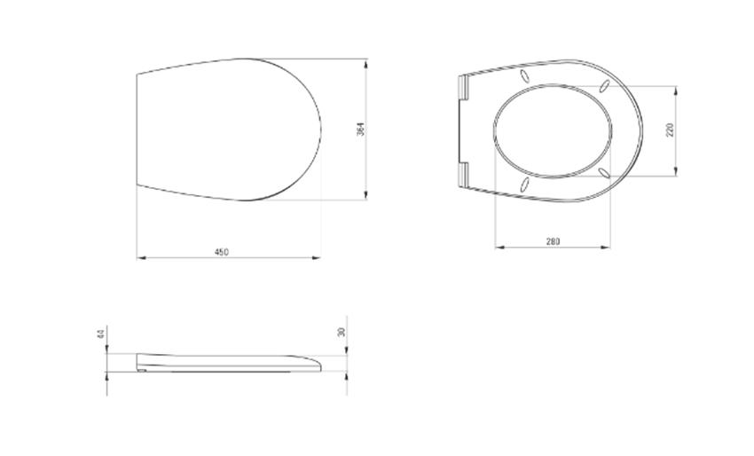 Deska WC wolnoopadająca Deante Avis rysuenk