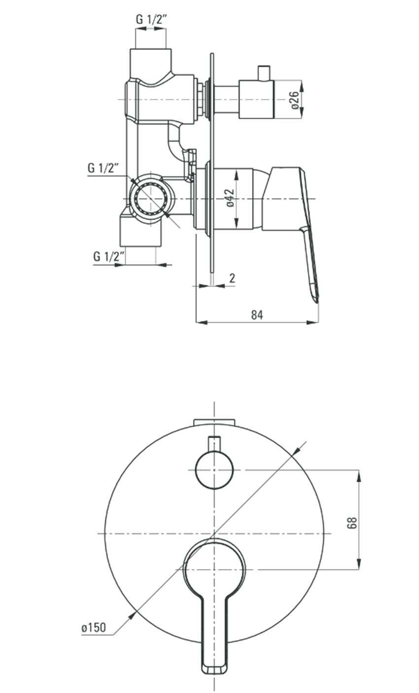 Bateria natryskowa podtynkowa z przełącznikiem natrysku Deante Arnika Titanium rysunek