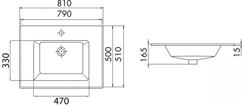 Umywalka CeraStyle Ibiza 050300-u rysunek techniczny