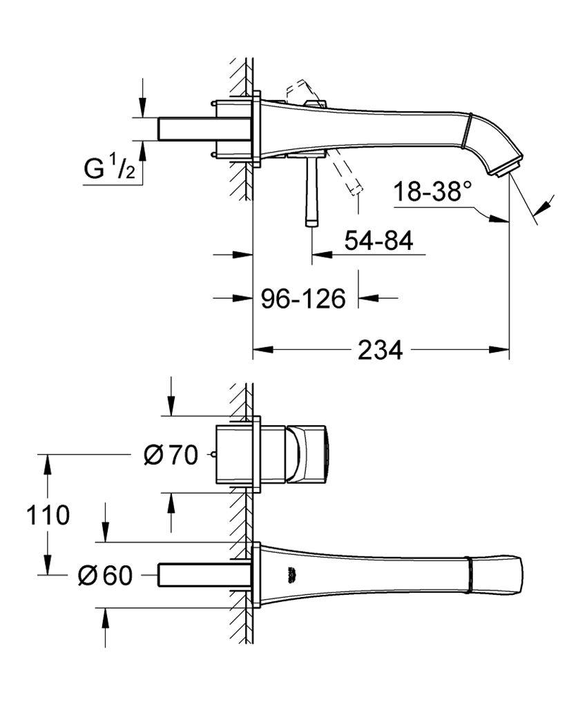 2-otworowa bateria umywalkowa ścienna rozmiar M Grohe Grandera rysunek techniczny