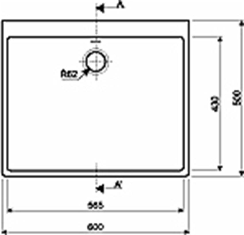 Zlew ceramiczny 60 cm Koło Nova Pro rysunek techniczny
