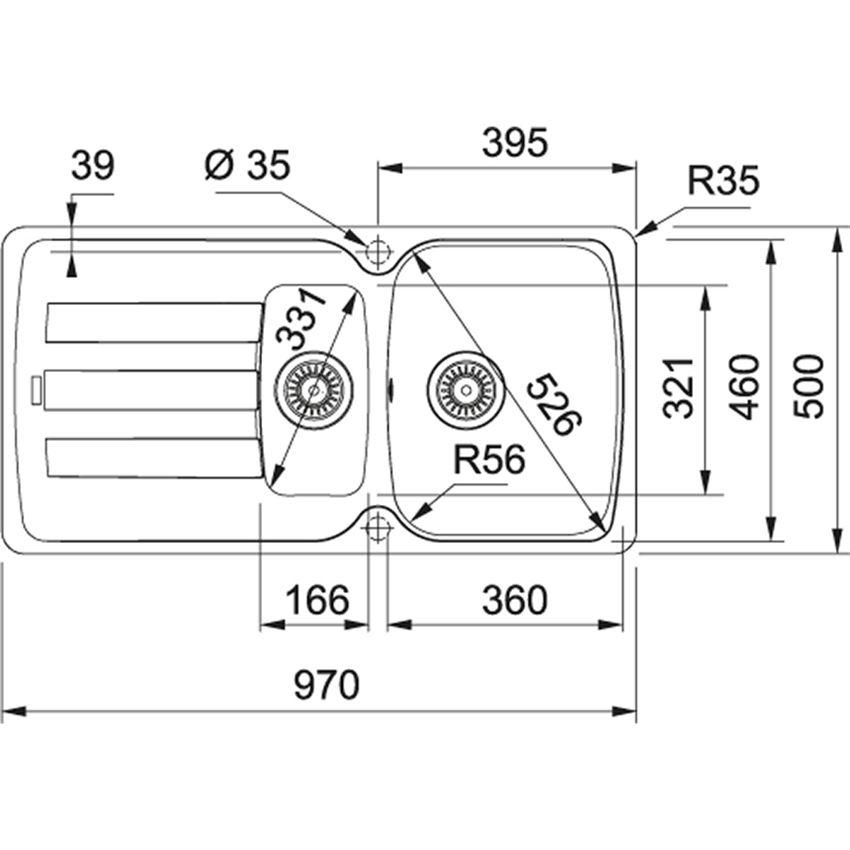 Zlewozmywak 1,5-komorowy z ociekaczem Franke Antea AZG 651 rysunek techniczny