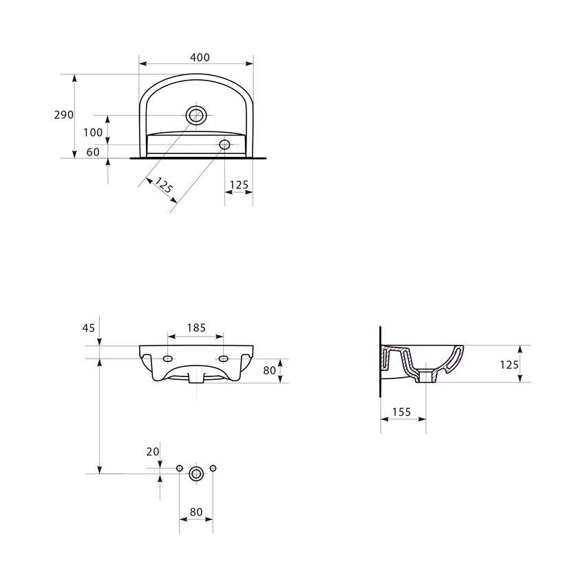 Umywalka meblowa 40 Cersanit Arteco rysunek techniczny
