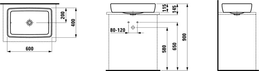 Umywalka nablatowa 60 cm Laufen Pro S rysunek