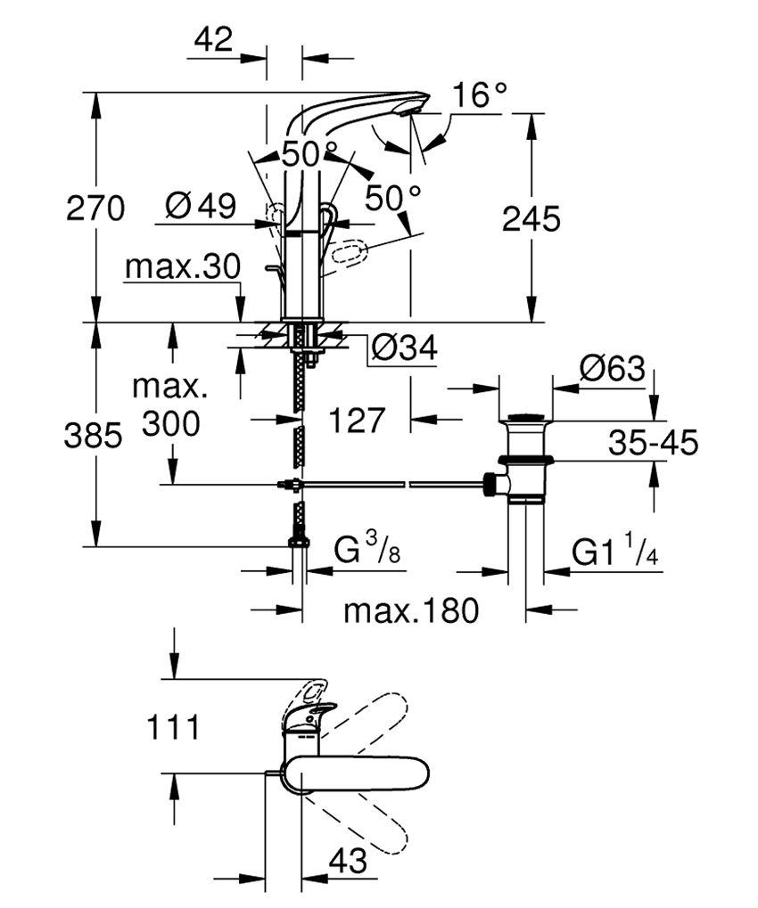 Jednouchwytowa bateria umywalkowa, rozmiar L Grohe Eurostyle rysunek techniczny
