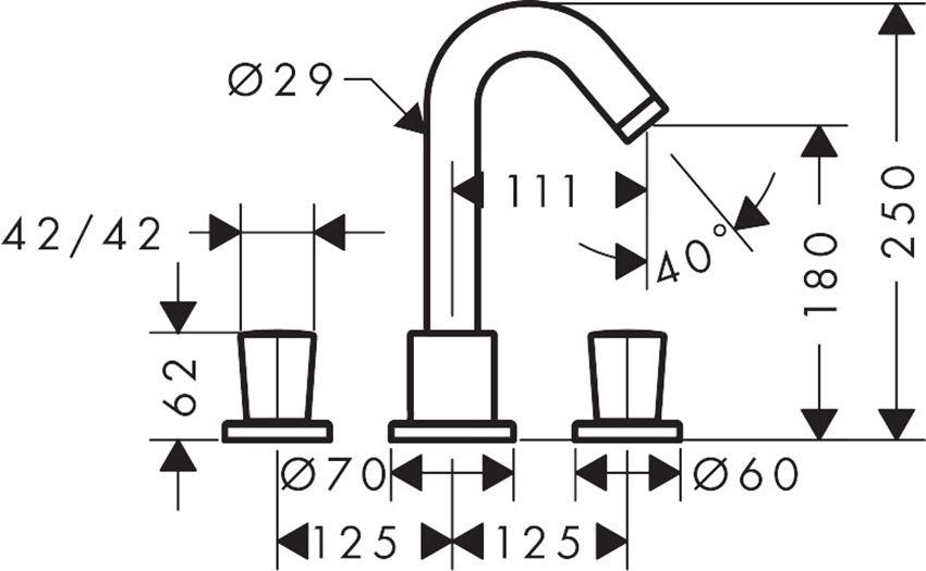 3-otworowa bateria wannowa Hansgrohe Logis rysunek techniczny