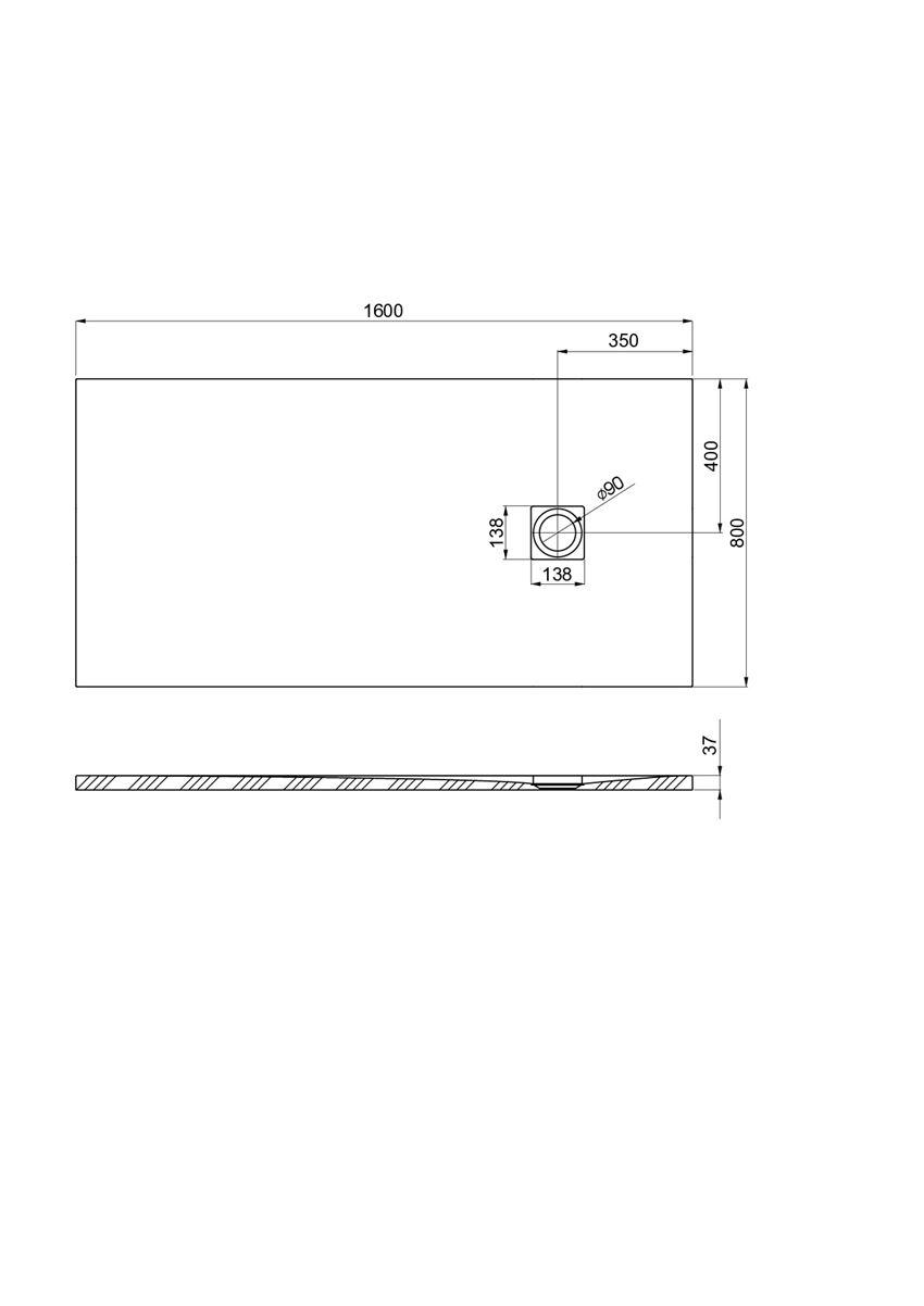 Brodzik kompozytowy 160x80x3,7 cm Roca Ignis rysunek techniczny