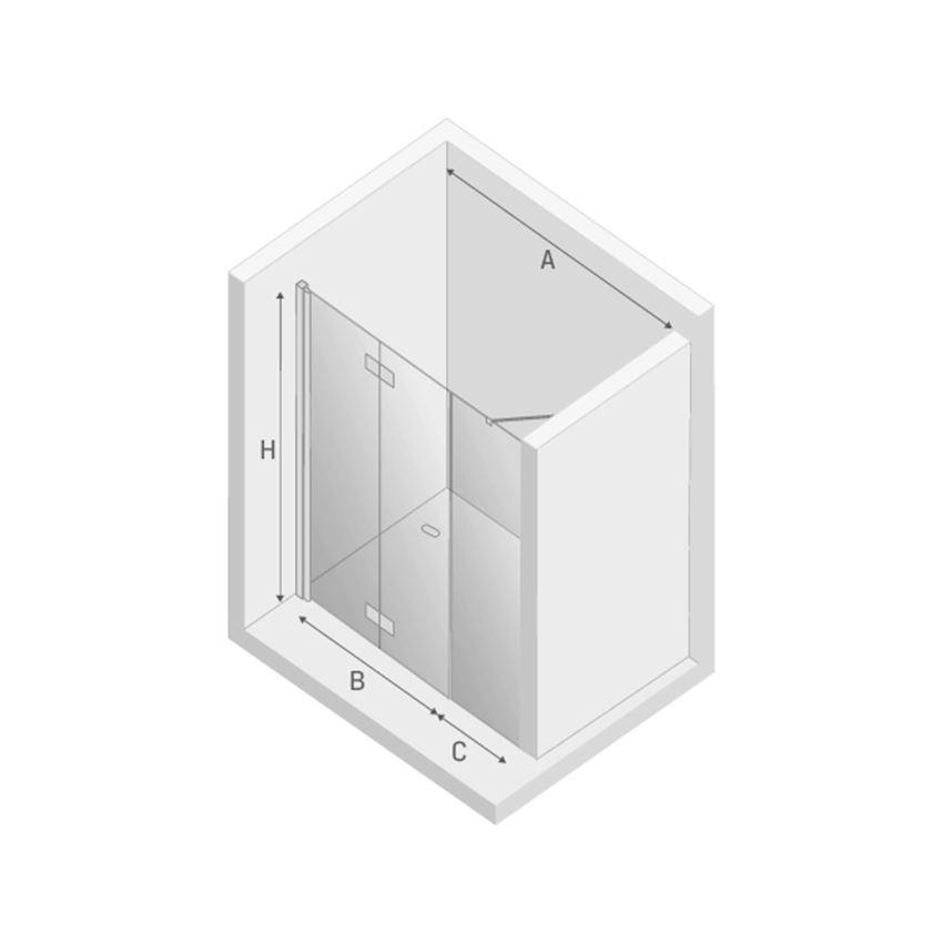 Drzwi prysznicowe łamane lewe New Trendy New Soleo rysunek techniczny