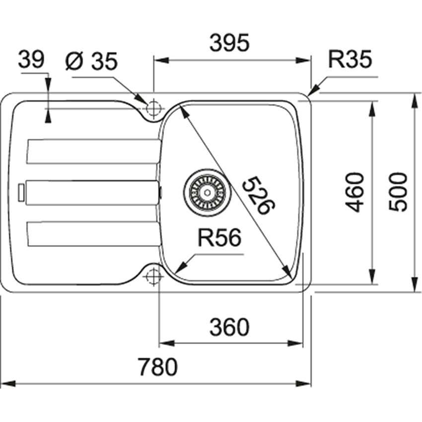 Zlewozmywak 1-komorowy z ociekaczem Franke Antea AZG 611-78 rysunek techniczny