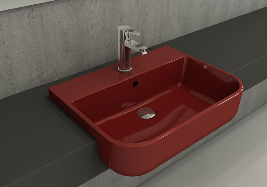 Umywalka meblowa/nablatowa 56x43 cm Glossy Red Bocchi Milano