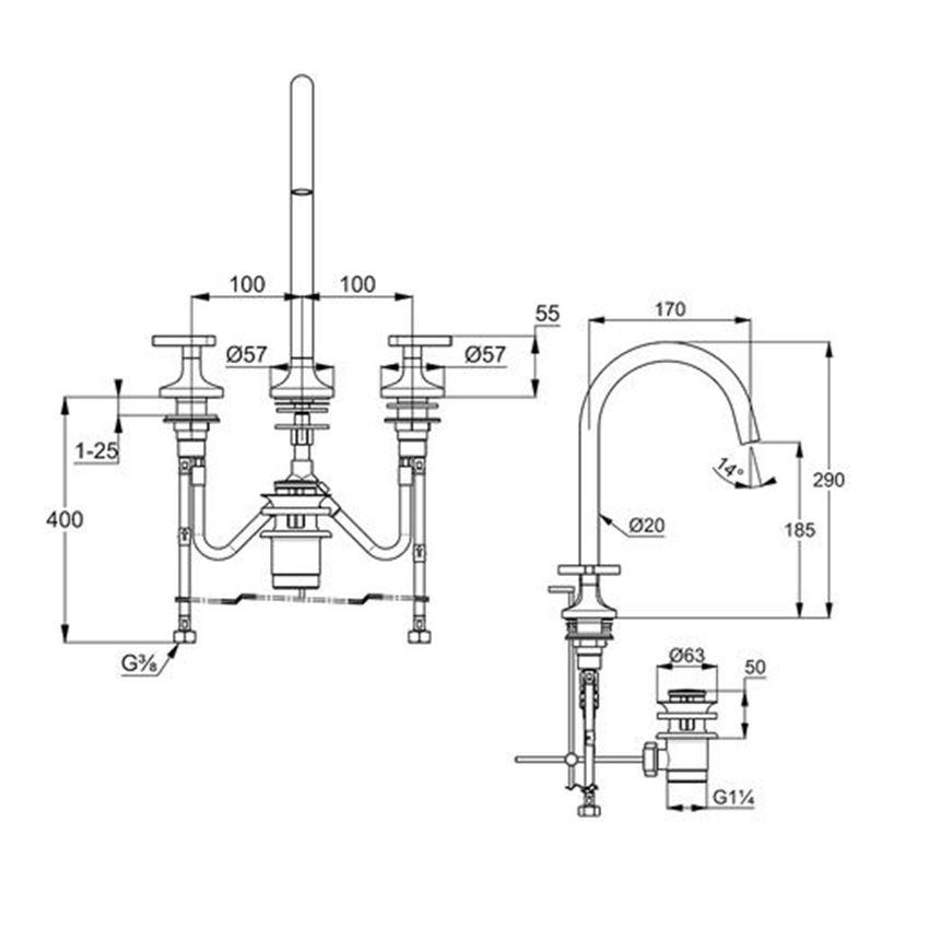 Stojąca bateria umywalkowa Déco montaż trójotworowy Kludi Nova Fonte rysunek