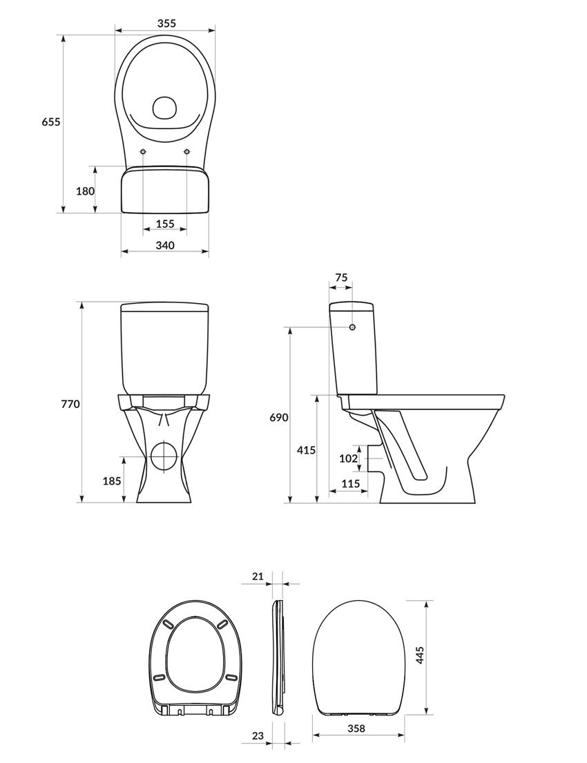 Kompakt WC SimpleOn z deską wolnoopadającą Cersanit Cersania rysunek